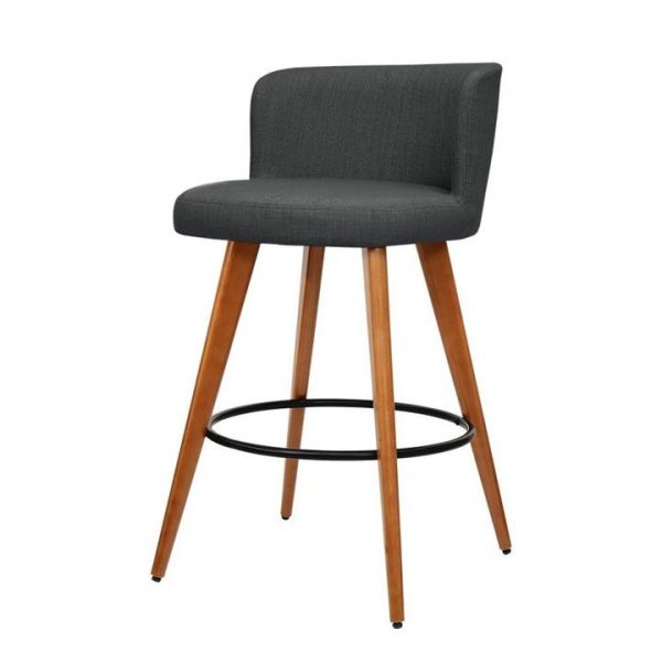 4x Wooden Bar Stools Modern Bar Stool Kitchen Dining Chairs Cafe Charcoal