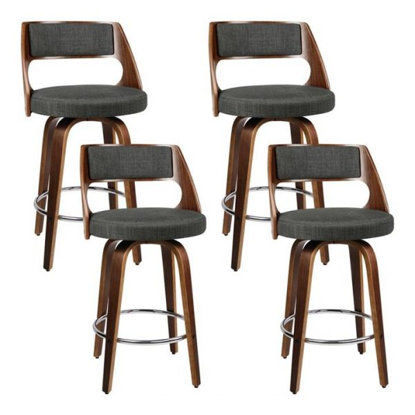 4x Wooden Bar Stools Swivel Bar Stool Kitchen Chairs Charcoal Fabric