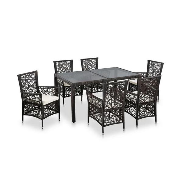 7 Piece Outdoor Dining Set Water Resistant Pe Rattan Brown