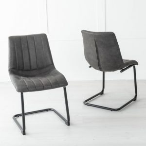 Angles Black Faux Leather Dining Chair
