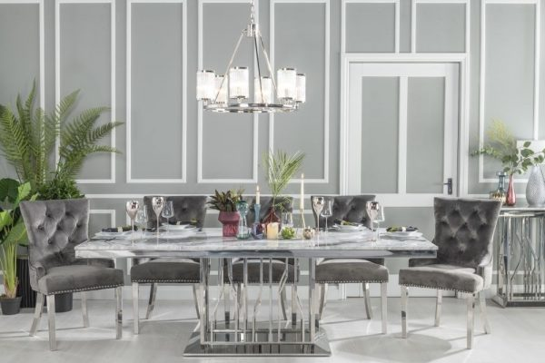 Barner 220cm Grey Marble and Chrome 220cm Dining Table with 6 Ellie Grey Knockerback Chrome Leg Chairs and Get 2 Extra Chairs Worth £398 For FREE