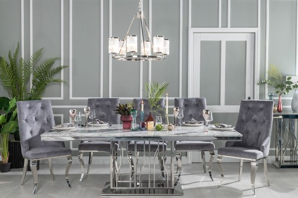 Barner Grey Marble and Stainless Steel Chrome 220cm Dining Table