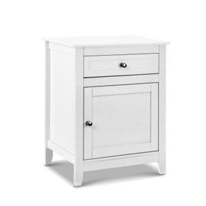 Bedside Table Big Storage Drawers Cabinet Nightstand Chest White