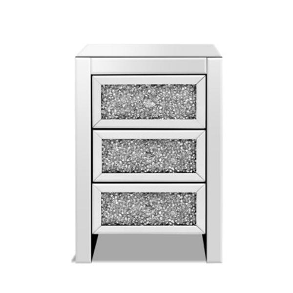 Bedside Table Nightstand Side End 3 Drawers Mirrored Glass Furniture