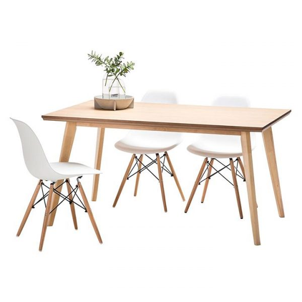 Bruno 7-Piece Timber Replica Eames DSW Eiffel Dining Set