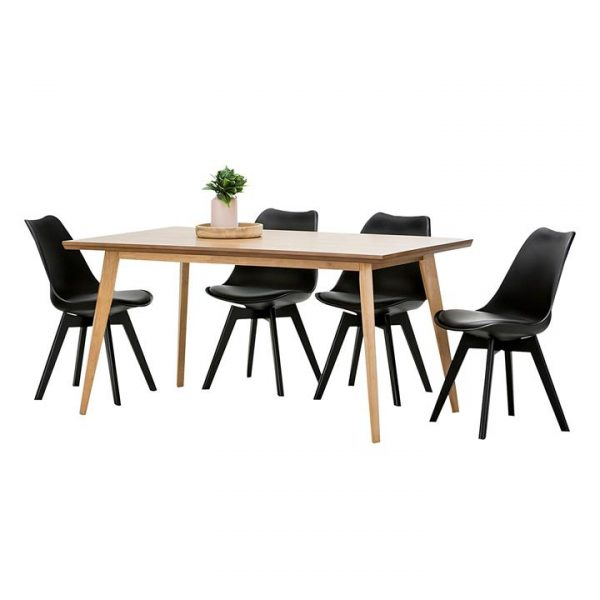 Bruno Timber Replica Charles & Ray Eames Padded Dining Set, Oak