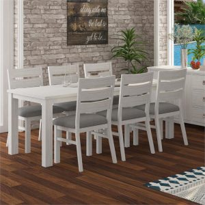 Cardiff 7 Piece Mountain Ash Timber Dining Table Set, 180cm