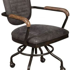 Carlton Additions Hudson Plush Grey Leather Office Chair