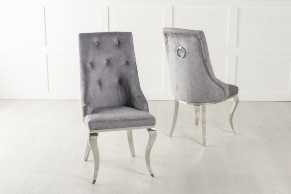Casey Grey Fabric Knockerback Dining Chair with Stainless Steel Chrome Legs