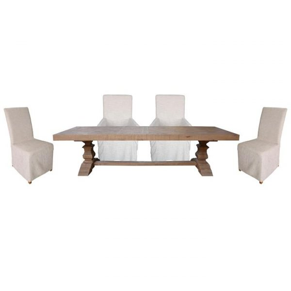 Cognac 11 Piece Pine Timber Trestle Dining Table Set, 305cm