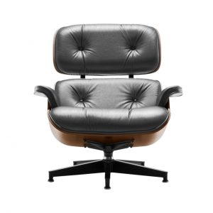 Eames Lounge Chair in Graphite Leather by Herman Miller
