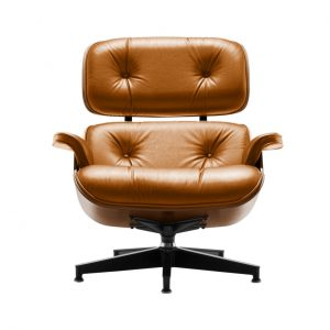 Eames Lounge Chair in Orange Open Line Leather by Herman Miller