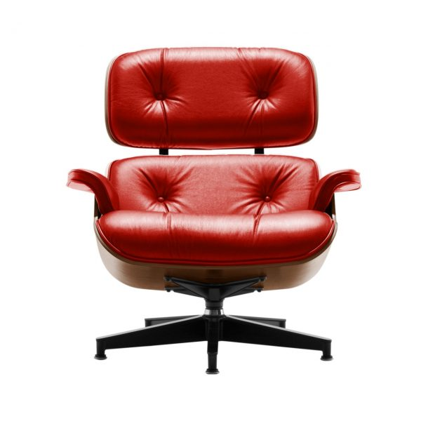 Eames Lounge Chair in Red MCL Leather by Herman Miller
