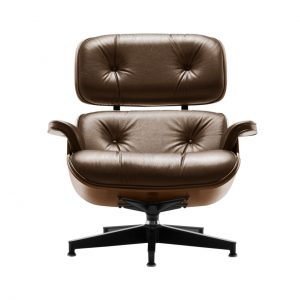 Eames Lounge Chair in Truffle Leather by Herman Miller
