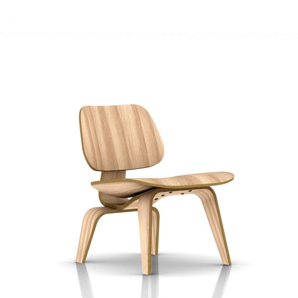 Eames Plywood Lounge Chair in White Ash by Herman Miller