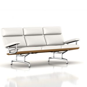 Eames Sofa in Ivory Leather by Herman Miller