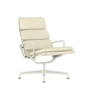 Eames Soft Pad Lounge Chair, Swivel Base in Ivory MCL Leather by Herman Miller
