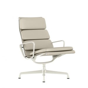 Eames Soft Pad Lounge Chair, Swivel Base in Stone MCL Leather by Herman Miller