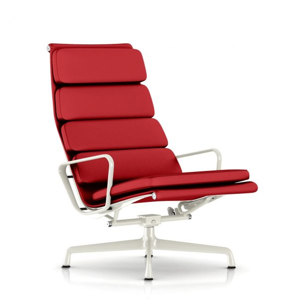 Eames Soft Pad Lounge Chair in Cranberry Leather by Herman Miller