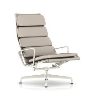 Eames Soft Pad Lounge Chair in Grey MCL Leather by Herman Miller