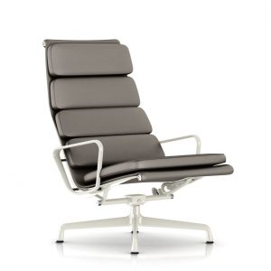 Eames Soft Pad Lounge Chair in Gunmetal MCL Leather by Herman Miller