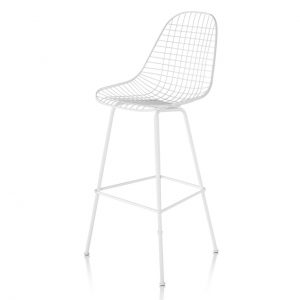 Eames Wire Bar Stool in Ivory Leather by Herman Miller