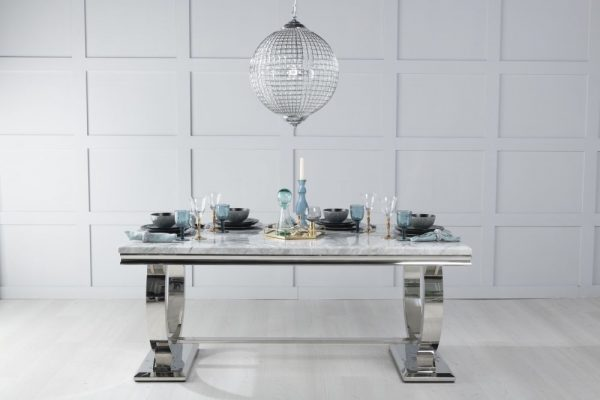 Gallina 200cm Grey Marble and Chrome Dining Table