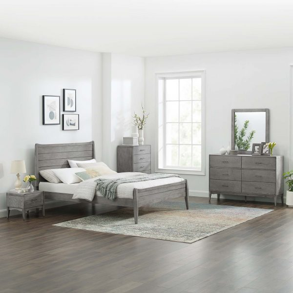 Georgia 5 Piece King Bedroom Set in Gray