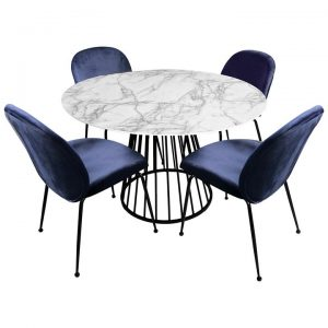 Liverpool 5 Piece Round Dining Table Set, 110cm, with Blue Beetle Chairs, White Top