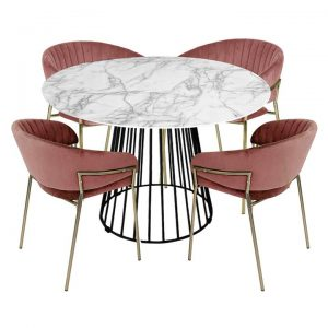 Liverpool 5 Piece Round Dining Table Set, 110cm, with Blush Lex Chairs, White Top