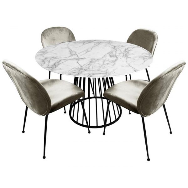Liverpool 5 Piece Round Dining Table Set, 110cm, with Taupe Beetle Chairs, White Top