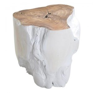 Log Stool, White