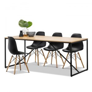 Macy Replica Charles & Ray Eames Dining Set, Black