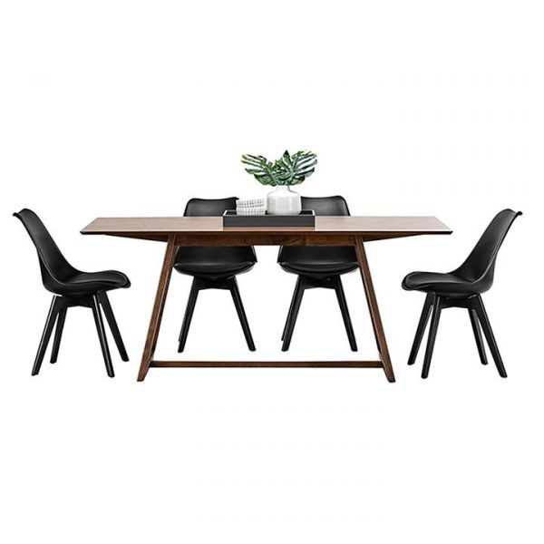 Manhattan Wood Replica Charles & Ray Eames Padded Dining Set, Walnut