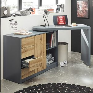Mantua Wooden Swilleing Computer Desk In Grey And Oak