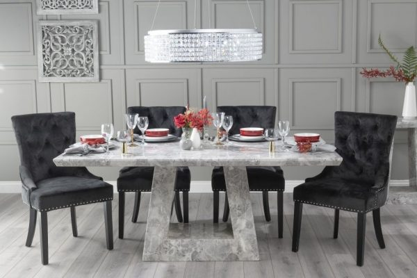 Mesilla 200cm Grey Marble Dining Table with 6 Black Knockerback Chairs