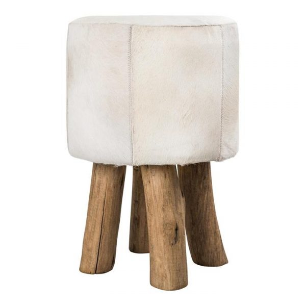 Mushroom Cowhide Stool with Eucalyptus Wood Legs
