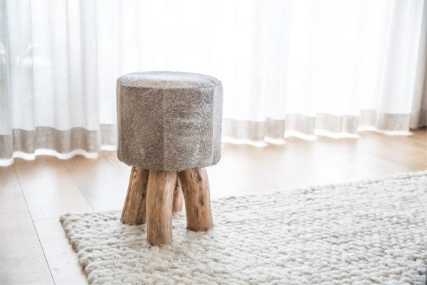 Mushroom Cowhide Stool with Wood Legs, Grey