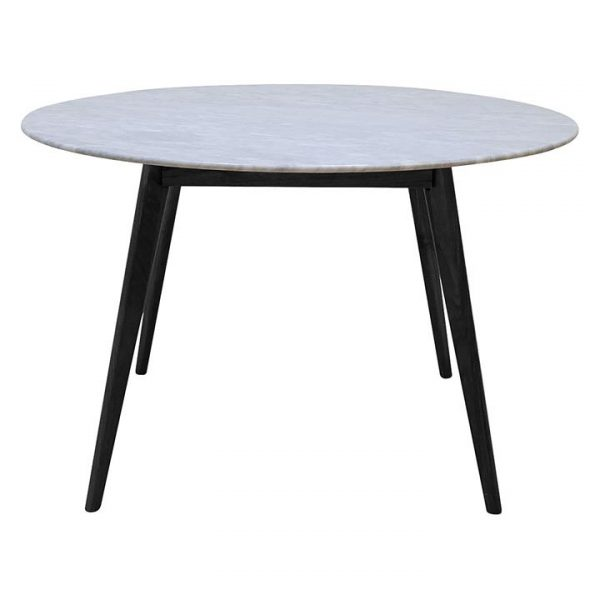 Oia Marble Round Dining Table, Black, 120cm