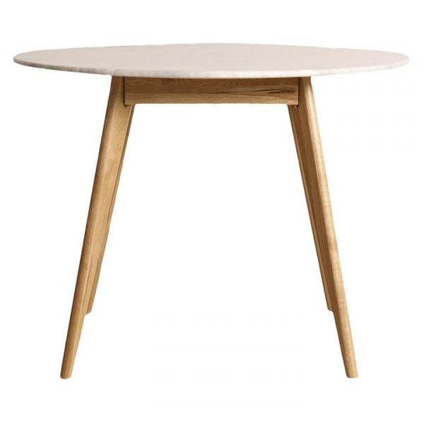Oia Marble Round Dining Table, Oak