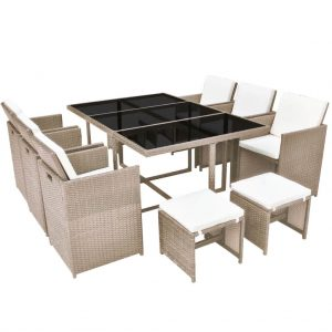 Outdoor Dining Set 27 Pieces Grey/Beige Poly Rattan