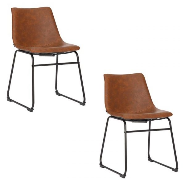 Prato Set of 2 Faux Leather Dining Chairs