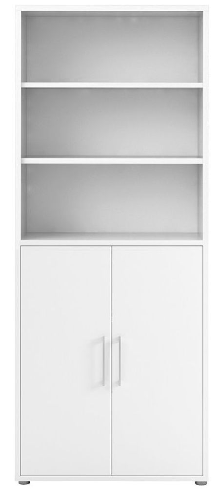 Prima White 2 Door with 5 Shelves Bookcase