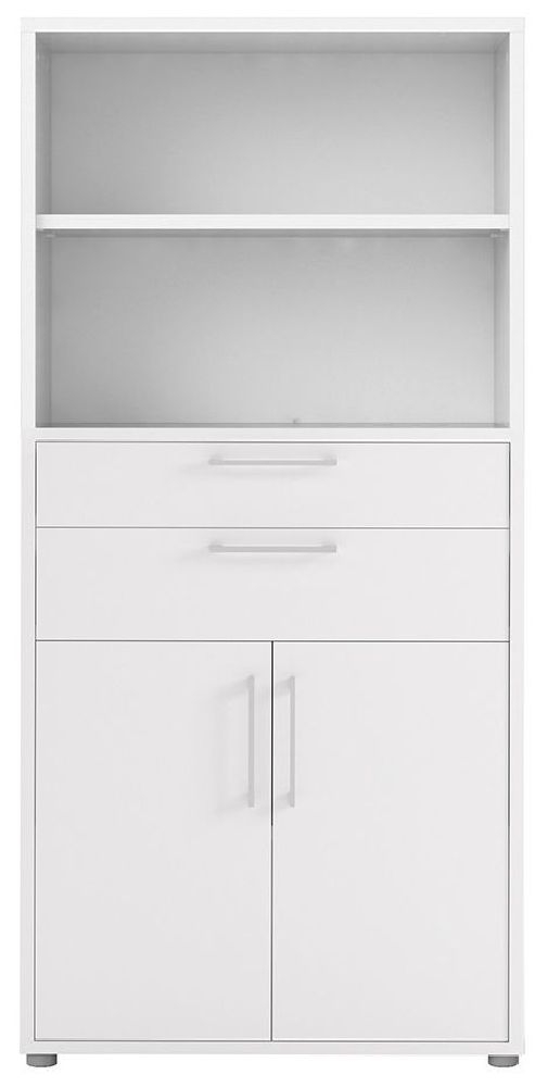 Prima White 2 Drawer with 4 Shelves Bookcase