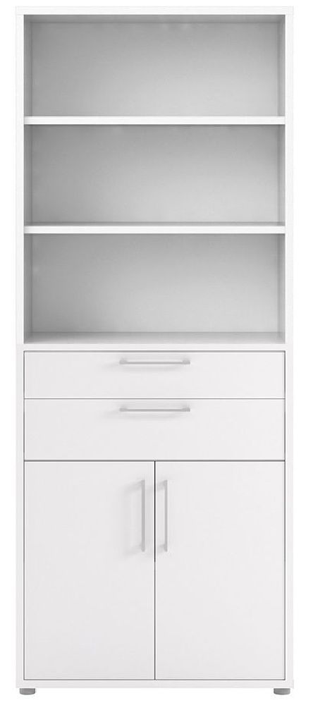 Prima White 2 Drawer with 5 Shelves Bookcase