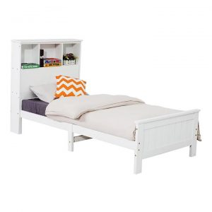 Solid Pine King Single Timber Bed Frame with Bookshelf Headboard