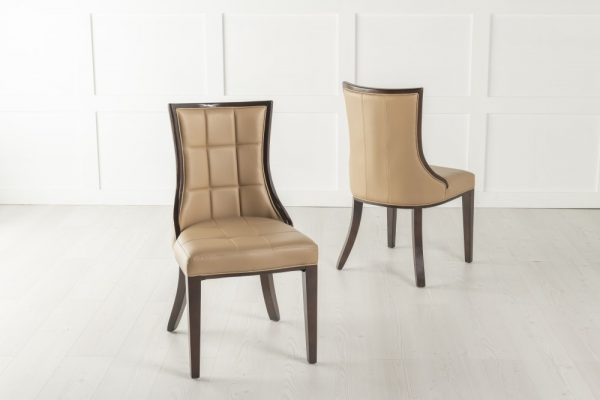 Tampa Beige Faux Leather Scoop Back Dining Chair