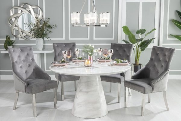 Urban Deco Carrera 130cm White Marble Dining Table and 6 Grey Knockerback Chrome Leg Chairs