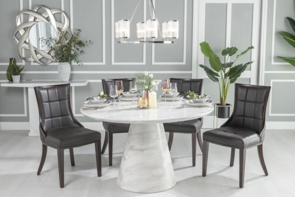 Urban Deco Carrera 130cm White Marble Dining Table and 6 Paris Black Chairs