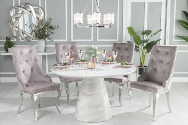 Urban Deco Carrera 130cm White Marble Dining Table and 6 Premiere Beige Knockerback Chairs